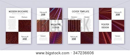Business brochure design template set. Orange abstract lines on wine-red background. Adorable brochure design. Outstanding catalog, poster, book template etc. stock photo