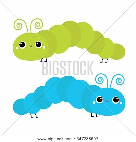 Caterpillar insect icon set. Crawling catapillar bug. Cute cartoon funny kawaii baby animal character. Smiling face. Flat design. Colorful bright green blue color. White background. Isolated. Vector stock photo