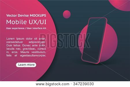 Mobile apps. User interface. App Design on a black background. 3D cell phone. stock photo