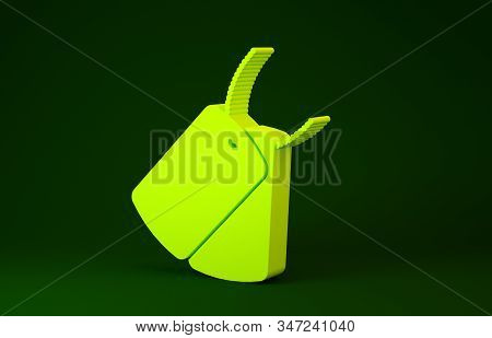 Yellow Military dog tags icon isolated on green background. Identity tags icon. Army sign. Minimalism concept. 3d illustration 3D render stock photo