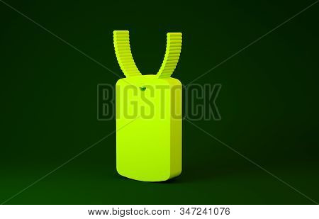 Yellow Military dog tag icon isolated on green background. Identity tag icon. Army sign. Minimalism concept. 3d illustration 3D render stock photo