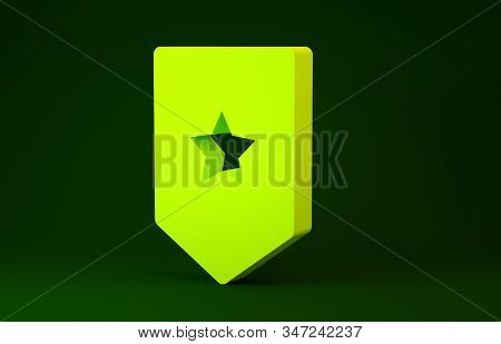 Yellow Chevron icon isolated on green background. Military badge sign. Minimalism concept. 3d illustration 3D render stock photo
