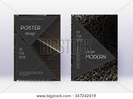 Black cover design template set. Gold abstract lines on black background. Actual cover design. Amazing catalog, poster, book template etc. stock photo