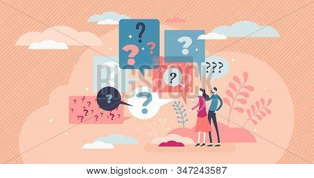 Questions concept, flat tiny person vector illustration abstract art scene with question mark speech bubbles. Decision making and life choices. Problem solving and figuring out best solutions. stock photo