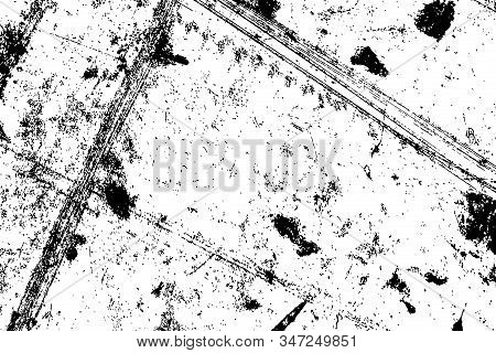 Distress urban used texture. Grunge rough dirty background. Brushed black paint cover. Overlay aged grainy messy template. Renovate wall scratched backdrop. Empty aging design element. EPS10 vector. stock photo