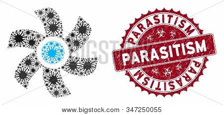 Coronavirus mosaic rotor icon and rounded distressed stamp seal with Parasitism caption. Mosaic vector is composed with rotor icon and with random mers icons. Parasitism seal uses biohazard style, stock photo