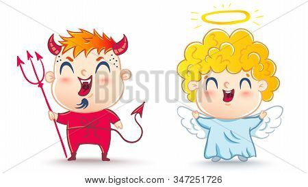 Angel and devil. Good and bad. Children are in costumes angel and devil. stock photo