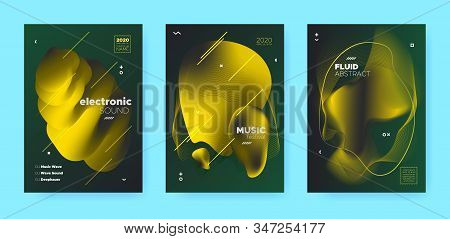 Gradient Flow Shapes. Night Party Template. Vip Music Brochure. Dj Poster. Gold 3d Movement Banner. Abstract Flow Shapes. Night Club Party Flyer. Music Background. Green Abstract Flow Shapes. stock photo