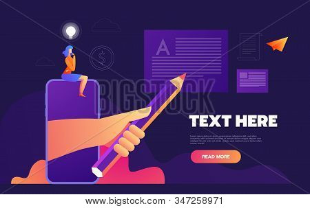 Isometric Mobile report analysis tool app flat 3d. business concept web vector illustration. Businesswoman analytic the data for business opportunity. stock photo
