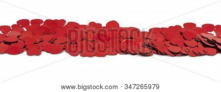 scattered confetti in the shape of hearts on a white background. Romantic Scattered Hearts Texture. stock photo
