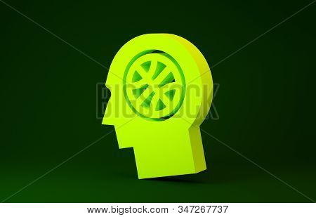 Yellow Thoughts on a basketball icon isolated on green background. Minimalism concept. 3d illustration 3D render stock photo