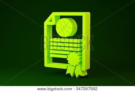 Yellow Certificate template basketball award icon isolated on green background. Achievement, award, degree, grant, diploma concepts. Minimalism concept. 3d illustration 3D render stock photo