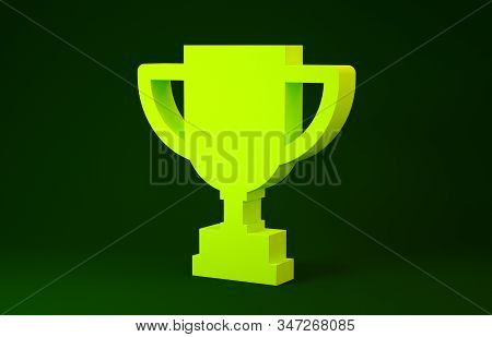 Yellow Award cup icon isolated on green background. Winner trophy symbol. Championship or competition trophy. Sports achievement. Minimalism concept. 3d illustration 3D render stock photo