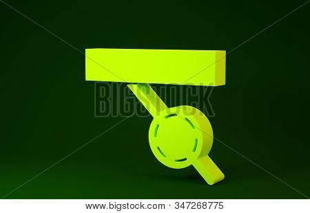 Yellow Pirate eye patch icon isolated on green background. Pirate accessory. Minimalism concept. 3d illustration 3D render stock photo