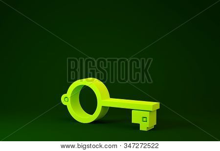 Yellow Ancient key for game icon isolated on green background. Minimalism concept. 3d illustration 3D render stock photo
