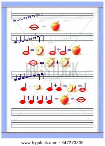 Educational page for little children to study the duration of musical notes. Developing tracing, counting and writing skills. Printable worksheet for kids music school textbook. Vector image. stock photo