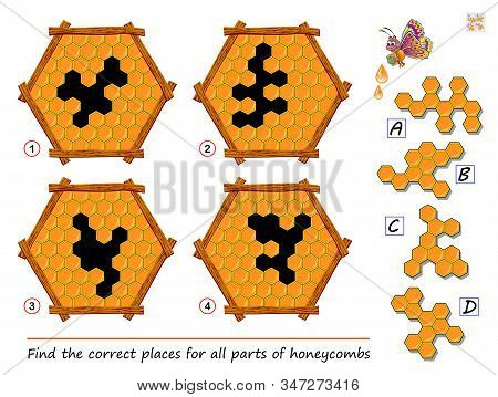 Logic puzzle game for children and adults. Find the places for all parts of honeycombs. Printable page for kids brain teaser book. Developing spatial thinking skills. IQ training test. Vector image. stock photo