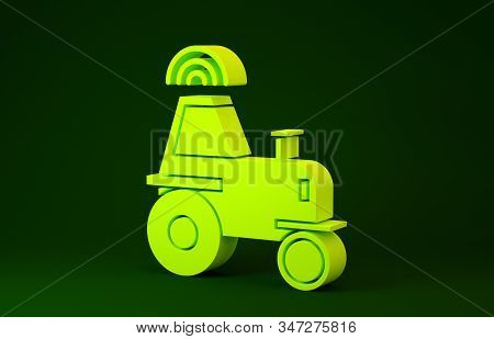 Yellow Self driving wireless tractor on a smart farm icon isolated on green background. Smart agriculture implement element. Minimalism concept. 3d illustration 3D render stock photo