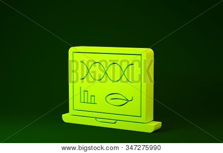 Yellow Genetic engineering modification on laptop icon isolated on green background. DNA analysis, genetics testing, cloning. Minimalism concept. 3d illustration 3D render stock photo