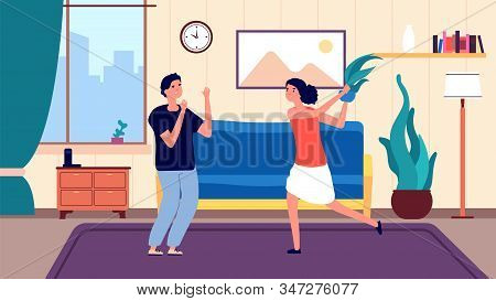Family quarrel. Angry arguing girl, couple have problems relationship. People divorce and abusive each other. Wife and husband argue vector illustration. Husband and wife divorce, relationship quarrel stock photo