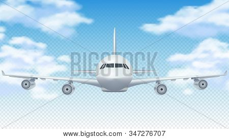 Flight plane. Realistic 3D airplane flying in blue sky. White cargo aircraft or commercial airliner and clouds vector background. Illustration plane flight in air, aircraft and airplane travel stock photo