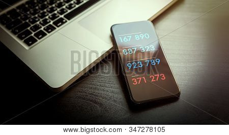 2-step authentication, two steps Verification SMS code password concept. Smartphone with special 2FA software for Secure and reliable access to the network, websites, mobile banking or applications stock photo