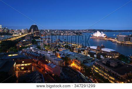 Aerial view of Sydney with Harbour Bridge, Australia stock photo