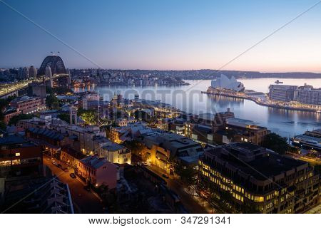sunrise, Aerial view of Sydney with Harbour Bridge, Australia stock photo