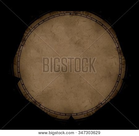 beige paper ancient map abandoned circle frame shape object on black background empty copy space for your text concept graphic design picture wallpaper pattern stock photo