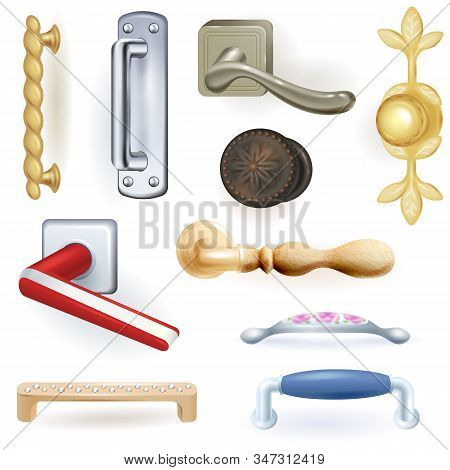 Door handle vector doorknob to lock doors at home and metal door-handle in house interior illustration set of safety entrance door-knob style design isolated on white background stock photo