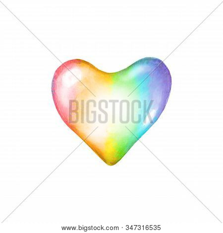 LGBT symbol. Watercolor rainbow colorful heart shape isolated on white background. Conceptual lesbian, gay, bisexual, and transgender watercolour poster design. Sign against homosexual discrimination. stock photo