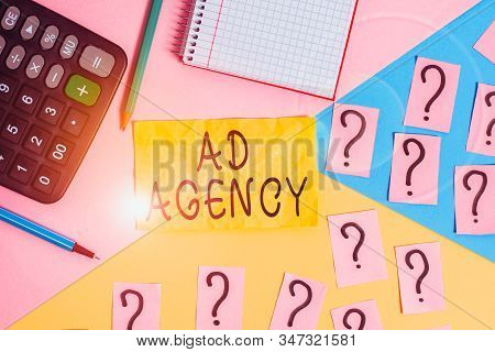 Writing note showing Ad Agency. Business photo showcasing business dedicated to creating planning and handling advertising Mathematics stuff and writing equipment above pastel colours background. stock photo