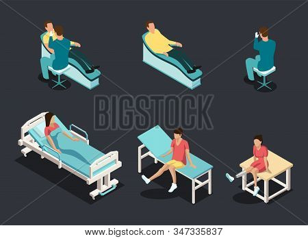 Flat 3d Isometric Patients on Hospital Beds icon set. The doctor examines the patient. People With Different Health Problems. Healthcare And Medicine Concept. Vector Illustration stock photo