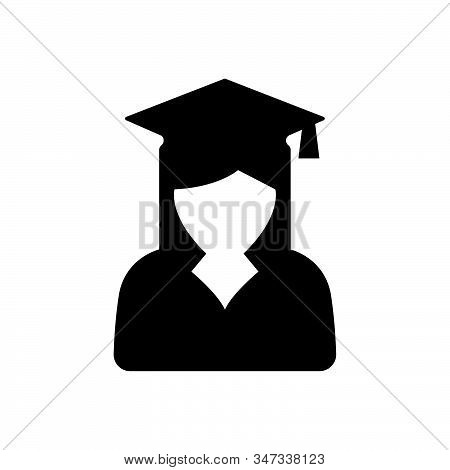 Female graduate student icon isolated on white background. Female graduate student icon in trendy design style. Female graduate student vector icon modern and simple flat symbol for web site, mobile, logo, app, UI. Female graduate student icon vector illu stock photo
