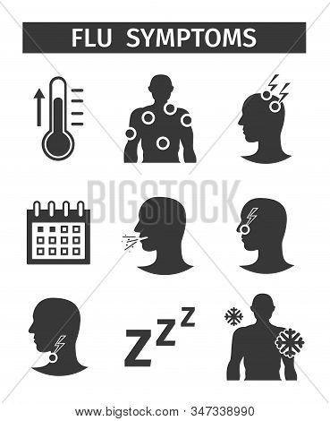 Vector icons set. Symptoms Flu influenza Symptoms stock photo