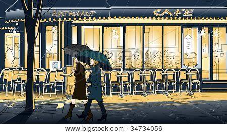 Illustration vectorielle des deux femmes se promener sous la pluie dans une rue de paris