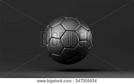 Vector 3D black soccer ball. Leather football ball on black background. Football 3d ball. stock photo