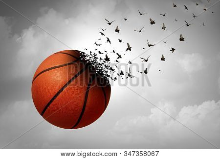Sport loss concept and depression and tragic sport event and grief psychology symbol as a basketball transforming to birds as a depressed fan from a sad eye in a 3D illustration style. stock photo
