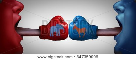 American political fight or impeachment trial and impeaching the United States president as congress and law in the US in a 3D illustration style. stock photo