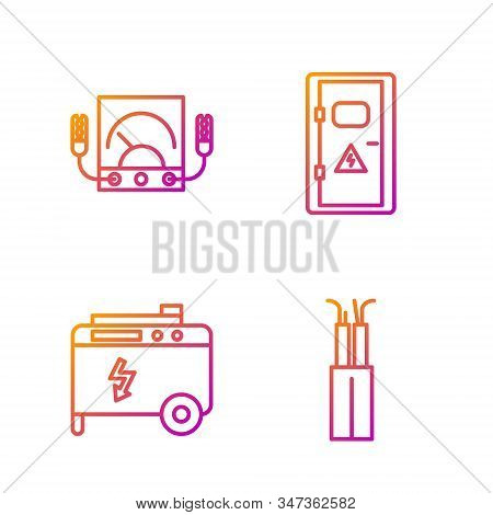 Set line Electric cable, Portable power electric generator, Ampere meter, multimeter, voltmeter and Electrical cabinet. Gradient color icons. Vector stock photo