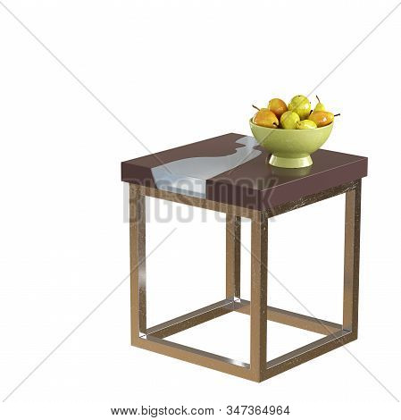 A small square coffee table on a metal base with a green vase with pears on a white background. Copyspace. 3d rendering stock photo