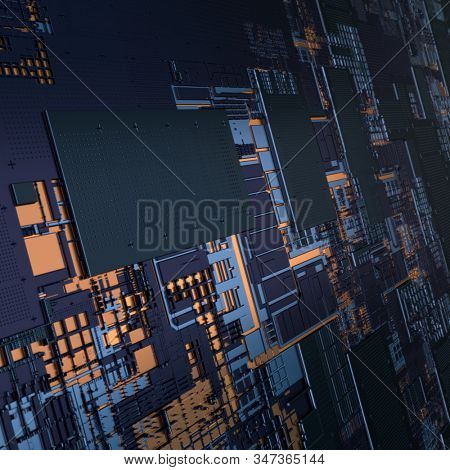 Circuit board futuristic server code processing. Angled view black color technology background. 3d rendering abstract circuit board stock photo