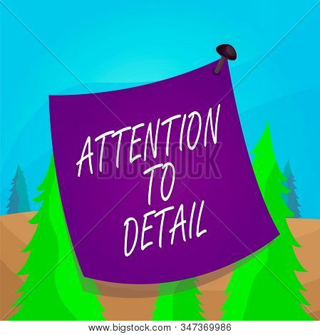 Word writing text Attention To Detail. Business concept for Achieve Thoroughness and Accuracy Exactly Aware Curved reminder paper memo nailed colorful surface stuck blank pin frame. stock photo