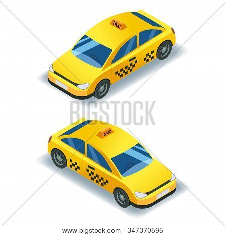 Taxi isometric car transport, yellow cab 3D icon service. 3d isometric City public transport, town vehicle, urban. Vector isolated illustration stock photo