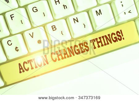 Conceptual hand writing showing Action Changes Things. Business photo showcasing start doing something against problem resolve or achieve it. stock photo
