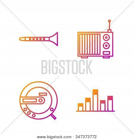 Set line Music equalizer, Music CD player, Clarinet and Radio with antenna. Gradient color icons. Vector stock photo