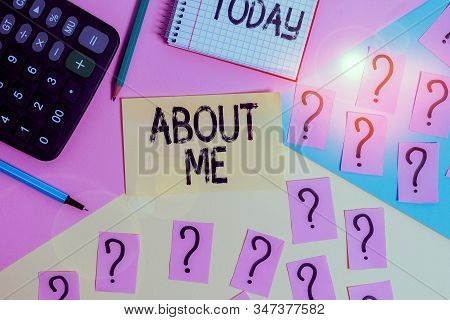 Conceptual hand writing showing About Me. Business photo text telling someone list of your good and bad traits and past events Mathematics stuff and writing equipment on pastel background. stock photo