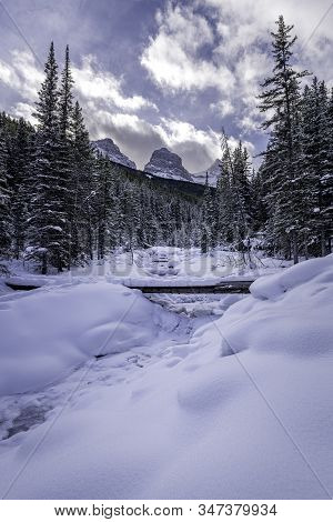 Winter Wonderland at Three Sisters in Canmore, Alberta stock photo