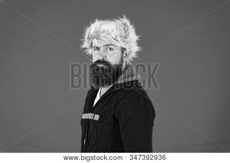 Posing for photo. bearded man ready for winter activity. get warm and comfortable. male fashion. serious trendy hipster. beard care in cold season. brutal man earflap hat. fur hat accessory. stock photo
