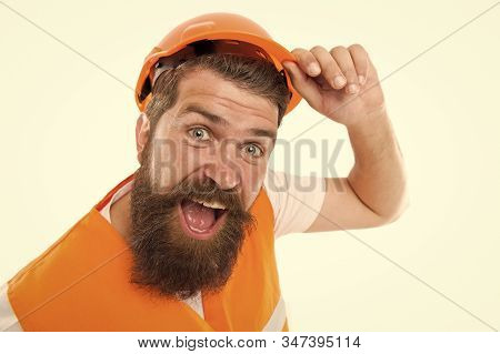 After long working day. Construction industry. Bearded brutal hipster safety engineer. Engineering career concept. Architect builder engineer. Man engineer protective uniform white background. stock photo